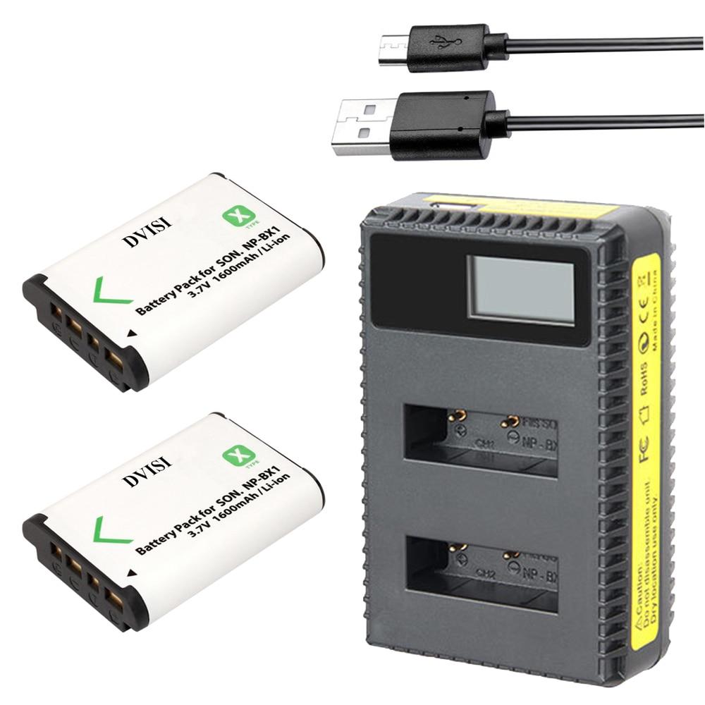 2Pcs DVISI NP-BX1 NP BX1 Battery Packs + LCD Dual USB Charger for Sony DSC RX1 RX100 AS100V M3 M2 HX300 HX400 HX50 HX60 GWP88