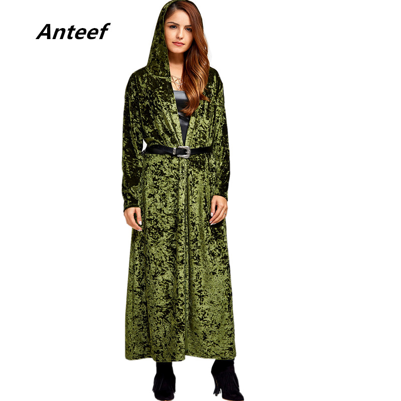 Anteef Women Trench-Coat Hooded Maxi Loose Veolvet Female Autumn Long Plus-Size Casual