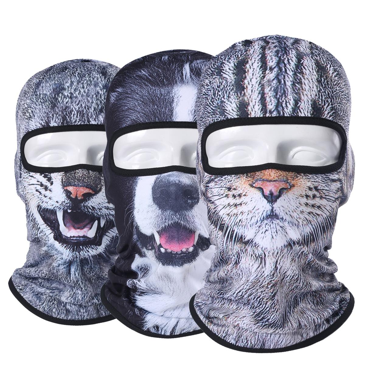 premium 3d animal balaclava full face mask windproof bicycle hats halloween cat dog - Premium Halloween Masks