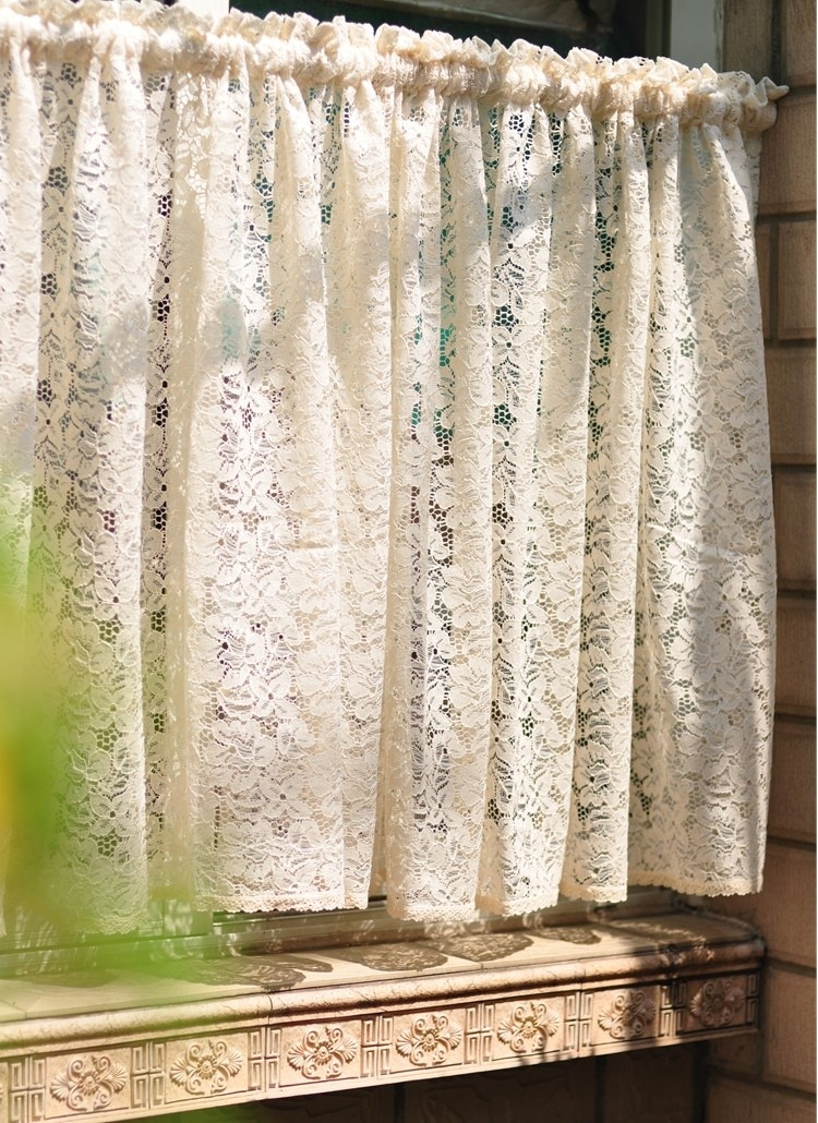 Cafe new beige short curtain lace kitchen sheer curtains tulle window small voile ready made - Small kitchen window curtains ...
