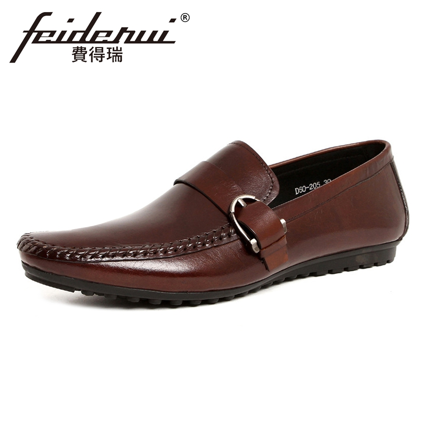 Hot Sale Genuine Leather Men's Comfortable Moccasin Loafers Round Toe Slip on Handmade Man Flat Heels Casual Shoes YMX198 hot sale mens italian style flat shoes genuine leather handmade men casual flats top quality oxford shoes men leather shoes
