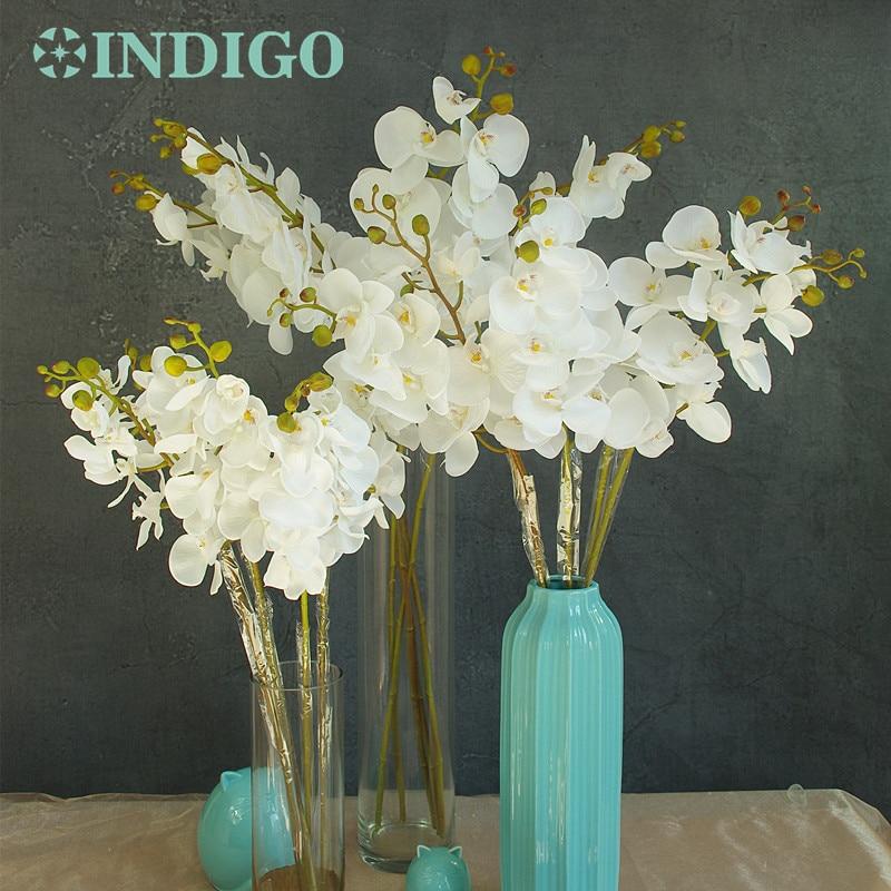 INDIGO-Phalaenopsis Anggrek Sutra Nyata Sentuh Bunga Bunga Buatan Bunga Anggrek Bunga Pesta Natal Gratis Pengiriman