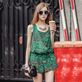 2016 Sexy Summer style Casual Leopard Sleeveless Jumpsuits O Neck Print Playsuit Short Rompers Womens Clothing Jumpsuit