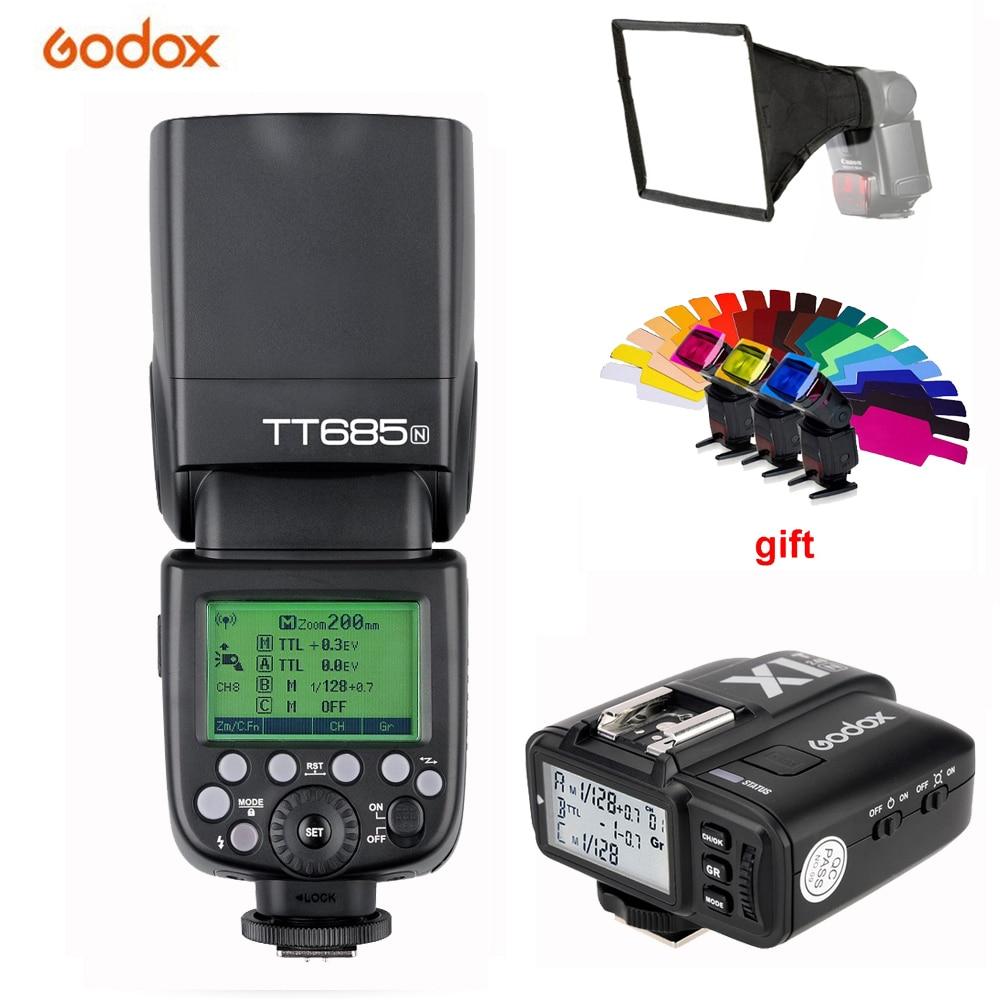 Godox TT685N 2.4G Wireless High-Speed HSS 1/8000s TTL Speedlite Flash for Nikon D3200 D5200 D5500 D7000 D7200 D800 D90 DSLR inseesi pixel king x receiver rx 2 4g ttl wireless flash trigger high speed 1 8000s for nikon camera d7000 d3100 d5200 d600 d90