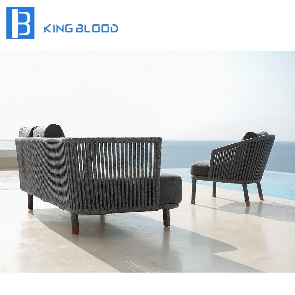 US $650.0  modern outdoor furniture garden grey round rope sofa set-in  Garden Sofas from Furniture on AliExpress
