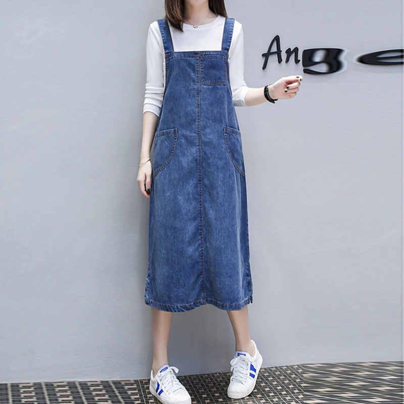 נשים ינס שמלה קיצית ספגטי רצועת ג 'ינס שמלות כיס נשים ללא שרוולים מסיבת קיץ ארוך שמלת גדול גודל 5XL TY083