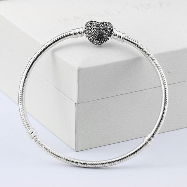 GZ 100% Pure 925 Sterling Silver Bracelets for Women Crystal Heart Clasp 3MM 16cm 22cm S925 Silver Snake Chain Bracelet TB04