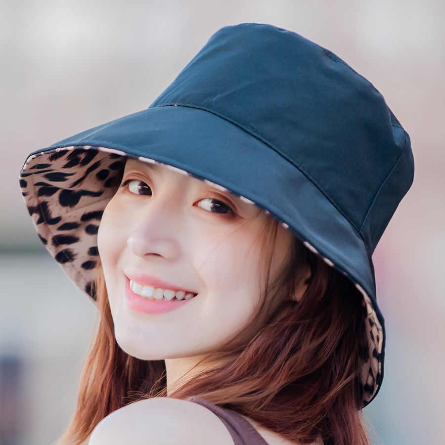 2019 Twee Side Dubbele Floppy Zonnehoed Voor Vrouwen Luipaard Omkeerbare Emmer Hoed Seaside Vakantie Cap Zomer Dames Koreaanse Strand hoed
