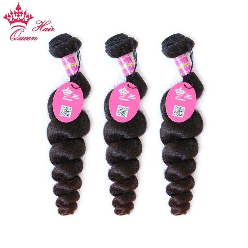 Królowa Włosów Brazylijski Loose Wave Virgin Hair 3 sztuk/partia Natural Color 100% Nieprzetworzonych Ludzkie Włosy Tkania Bezpłatną Wysyłkę