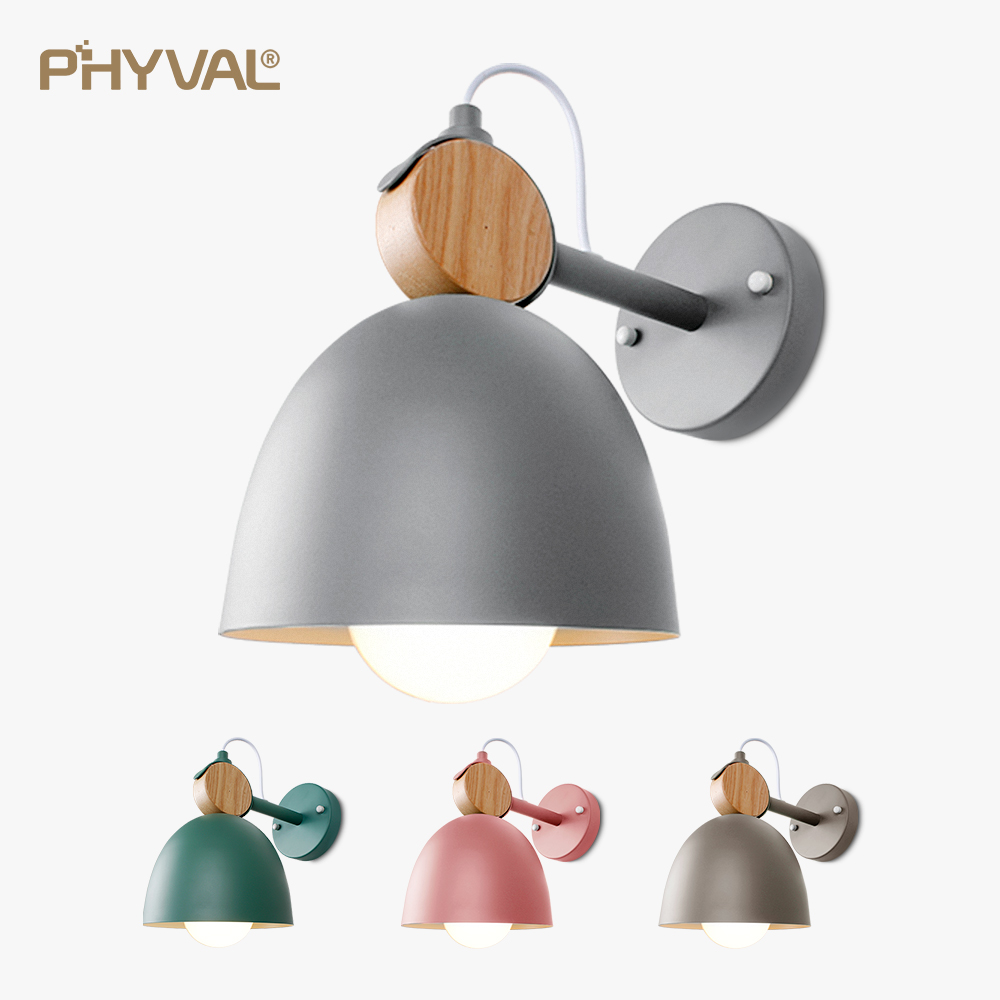 Nordic Wall Lamp Iron Solid wood combination Wall light  round LED wall lamp bedside room bedroom wall lamps Macarons CreativeNordic Wall Lamp Iron Solid wood combination Wall light  round LED wall lamp bedside room bedroom wall lamps Macarons Creative