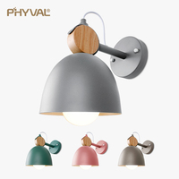 Nordic Wall Lamp Iron Solid wood combination Wall light round LED wall lamp bedside room bedroom wall lamps Macarons Creative
