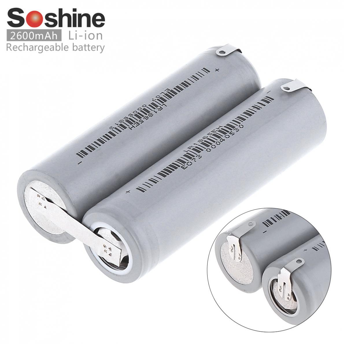 2pcs Soshine 2600mAh 18650 Li-ion Rechargeable Battery with Nickel Sheet Series Connection for Screwdriver Drill Electric Tool стоимость