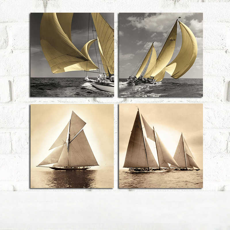 Sea Sailboat Retro Landscape Canvas Painting Art Posters and Prints Landscape Scandinavian Wall Picture for Living Room Decor