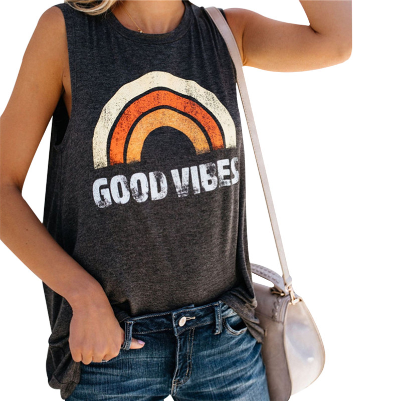 Summer   Tank     Top   Women Rainbow Good Vibes Letter Print   Tank   Female Casual O-Neck Loose Vest 2019 Sexy Sleeveless Ladies   Tops   Tee