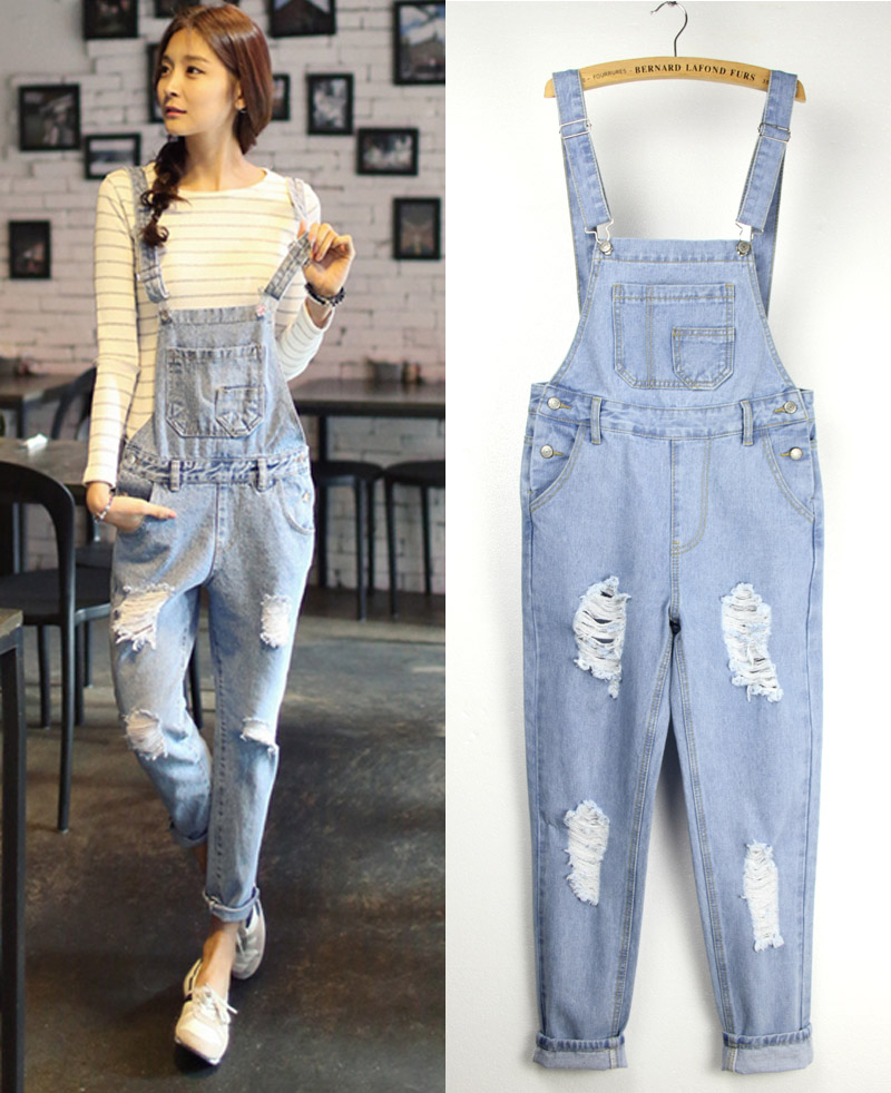 Salopette Women New Fashion Denim Dungarees Hole Jeans Jumpsuit Denim Overalls Casual Skinny ...