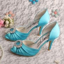 ชื่อแบรนด์ผู้หญิงมองลอดนิ้วเท้ารองเท้าแต่งงานเจ้าสาวAqua Blueซาตินปั๊ม