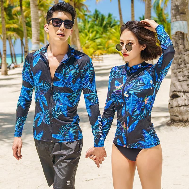 2018 blue print leaves new surfing suit couples Korean Swimwear long sleeves swimsuit plus size rash guards shirt brief leggings цена