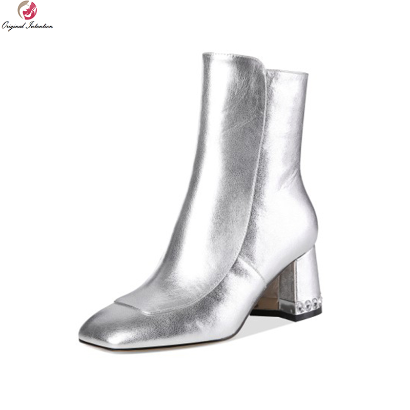 цена на Original Intention Nice Women Ankle Boots Genuine Leather Square Toe Square Heels Boots Black Silver Shoes Woman US Size 3-9.5