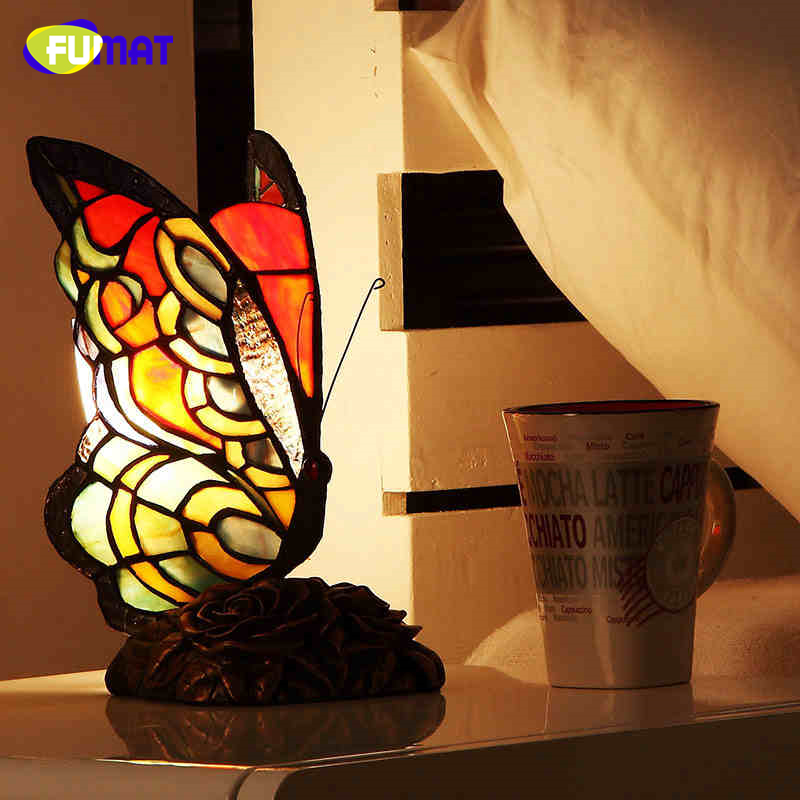 FUMAT Butterfly Shape Table Lamp Stained Glass Tiffany Lamp For Living Room Bedside Lamp Decor Tiffanylamp Glass Art Table Lamps