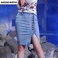 Jeans Stretch Moda Na Altura Do Joelho-Comprimento Da Saia 2017 das mulheres do Verão Skater Jupe Saias Senhoras Denim Saias Lápis S-2XL