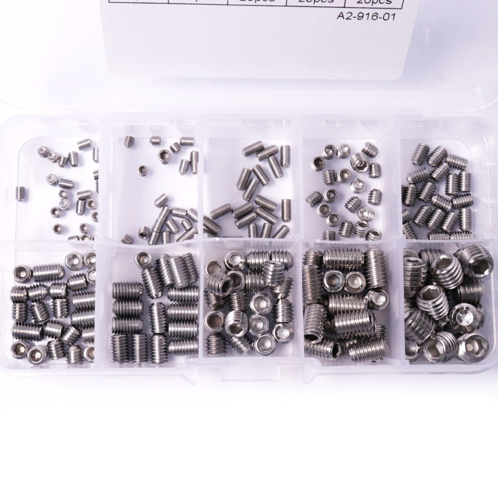 High Quality 200Pcs/Lot 10 Sizes A2-70 DIN916 Stainless Steel Allen Head Hex Socket Screws Grub Screw Cup Point Assortment Kit 200pcs lot 2sa950 y 2sa950 a950 to 92 transistors