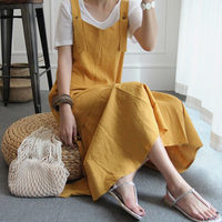 Linen Cotton Dress Women Summer Yellow Loose Strap Dress Vintage Ruffles A line Cotton And Linen Sleeveless Dresses DS50334