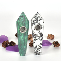 Natural Black And White Stone And Malachite Crystal Pipe Cigarette Holder Magic Wand Point Health Tobacco Smoking Pipe Healing