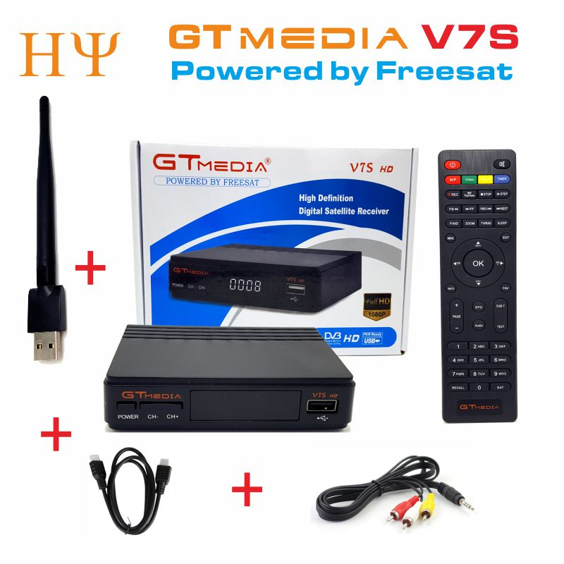 5PCS/Lot GTMEDIA V7S/FREESAT V7S Satellite Receiver DVB-S2 1080p hd freesat V7/GTMEDIA V7S set top box with USB WIFI hellobox gsky v7 5pcs hd powervu autoroll iks ccam dvb s2 receiver tv box better than freesat support tandberg patch