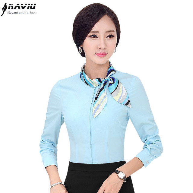 ee904219670c3 New arrival fashion long sleeve scarf collar shirt women High quality  Korean plus size female blouse occupation Formal tops