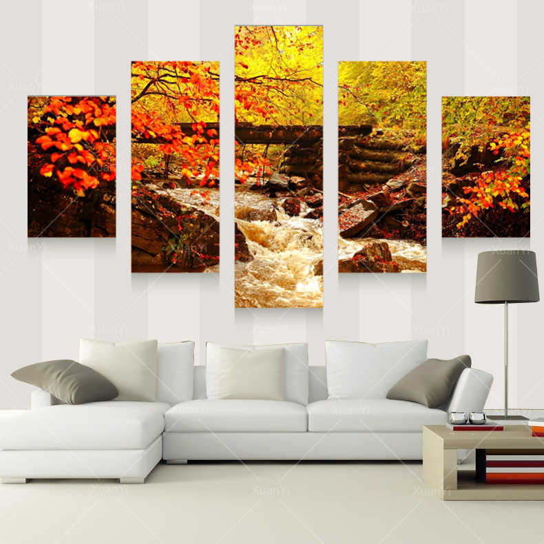 Aliexpress.com : Buy 5 Panel Autumn Landscape Canvas Art Prints Oil  Painting Home Art Wall Poster Decorative Picture For Living Room Unframed  PRF1013 From ...