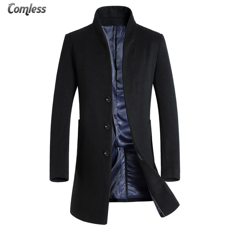 2016 New Winter Wool Coat Men Long Sections Thick Woolen Coats Men Casual Fashion Jacket Casaco Masculino Palto Peacoat Overcoat