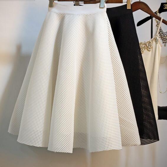 Pour les femmes robe de bal maille jupe Empire taille large ourlet rétro 2018 genou longueur solide résille marine Zipper élasticité
