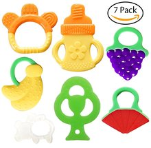 Baby Teething Toys BPA Free Natural Organic Freezer Safe Teether Set for 3 to 12 Months Babies, Infants, Toddlers(7 Pack)