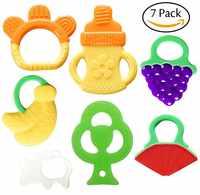 Brinquedos de Dentição do bebê BPA Livre Orgânica Natural Conjunto Mordedor para 3 Freezer Segura para 12 Meses Os Bebês, Crianças, crianças (7 Pack)