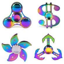5ชิ้นรูปแบบใหม่EDCที่มีสีสันสายรุ้งทาสีTri-s Pinnerอยู่ไม่สุขของเล่นโลหะผสมมือปั่นนิ้วGyroสำหรับออทิสติกสมาธิสั้น