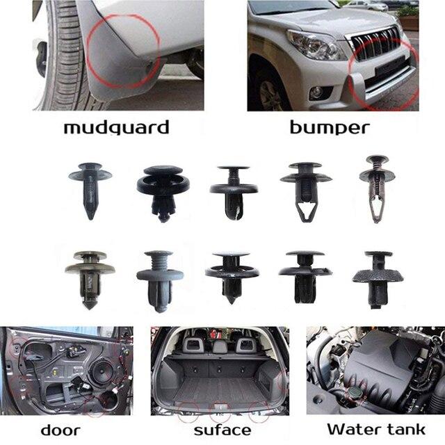 100 adet plastik karışık araba Fastener araç otomatik tampon klipler tutucu perçin kapı paneli çamurluk astar Honda Toyota için AUDI