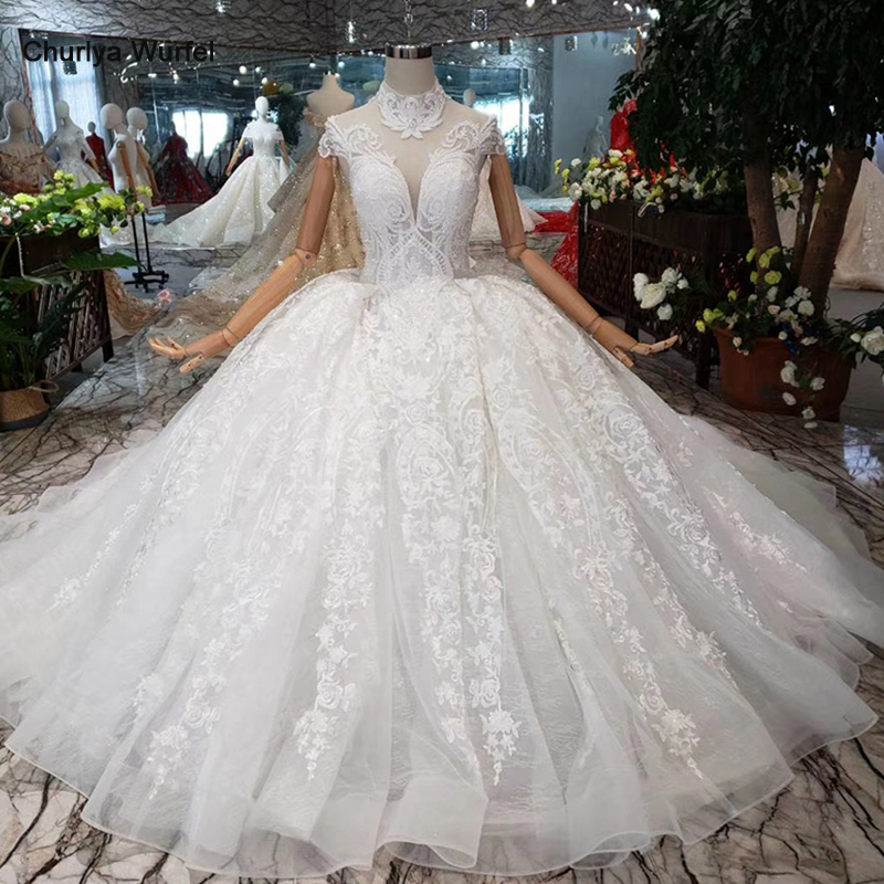 HTL178  2019 Luxury Ball Gown Wedding Dresses Short Sleeves High-neck Appliques Lace Up Princess Wedding Gowns With Long Train