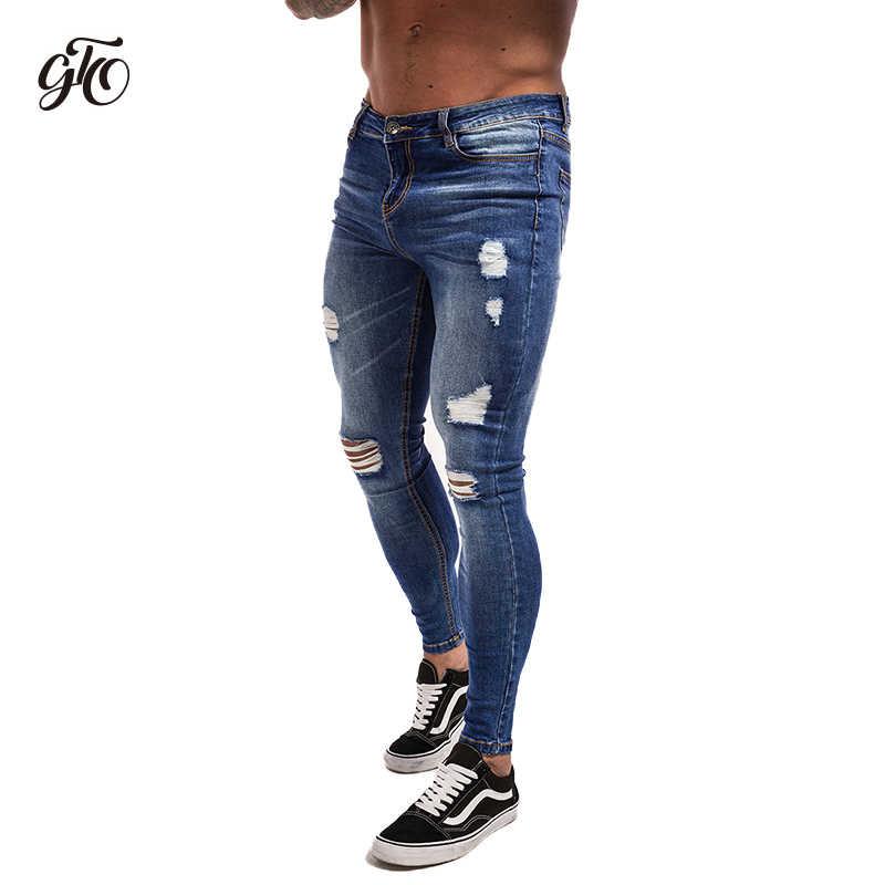 Gingtto Jeans Rasgados Para Hombres Angustia Jeans Azul Oscuro De Algodon Ligero Vaqueros De Suministro De Dropshipping Venta Verano Zm02 Brand Men Jeans Designer Mens Jeansmen Brand Jeans Aliexpress