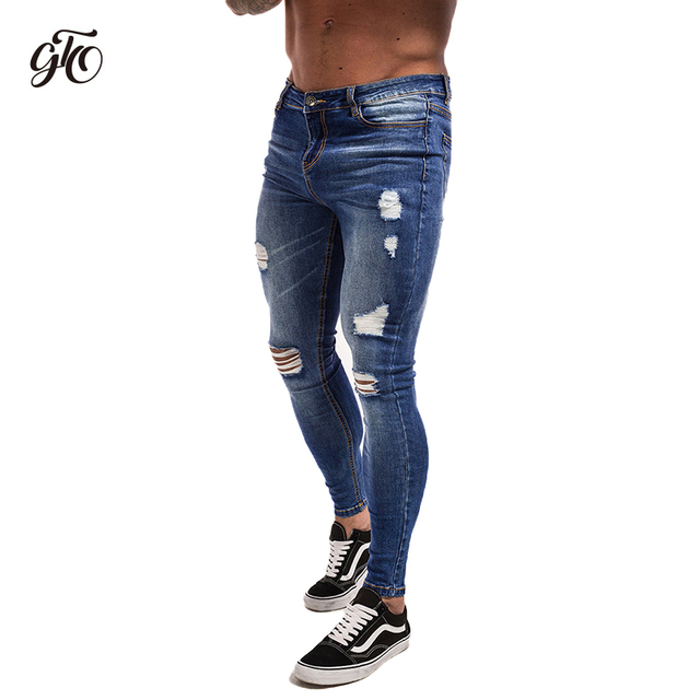 fa7a8dc7b85 Gingtto Ripped Jeans For Men Distress Jeans Dark Blue Lightweight Cotton  Stretch Jeans Dropshipping Supply Sale Summer zm02