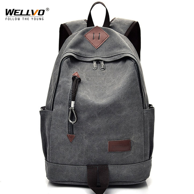 Men Canvas Backpack Teenage Boys School Bag Laptop Backpacks Students Casual Travel Rucksack Large Book Bags Brown Black XA1916C 13 laptop backpack bag school travel national style waterproof canvas computer backpacks bags unique 13 15 women retro bags