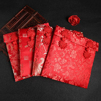New Year Large Size Woven Red Rope Red Envelope Exquisite Dargon Pattern Floral High Grade Brocade