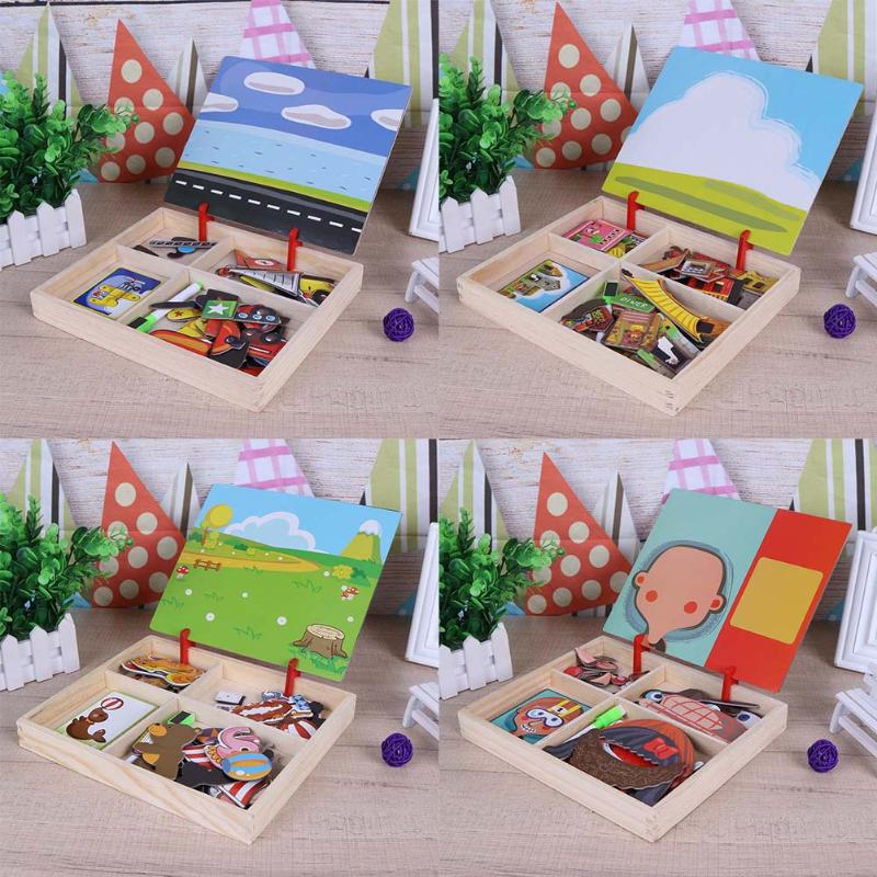 Kids Wooden Puzzle Educational Drawing Board Toy 100+PCS Wooden Magnetic Puzzle Figure/Animals/ Vehicle /Circus Drawing Board цена