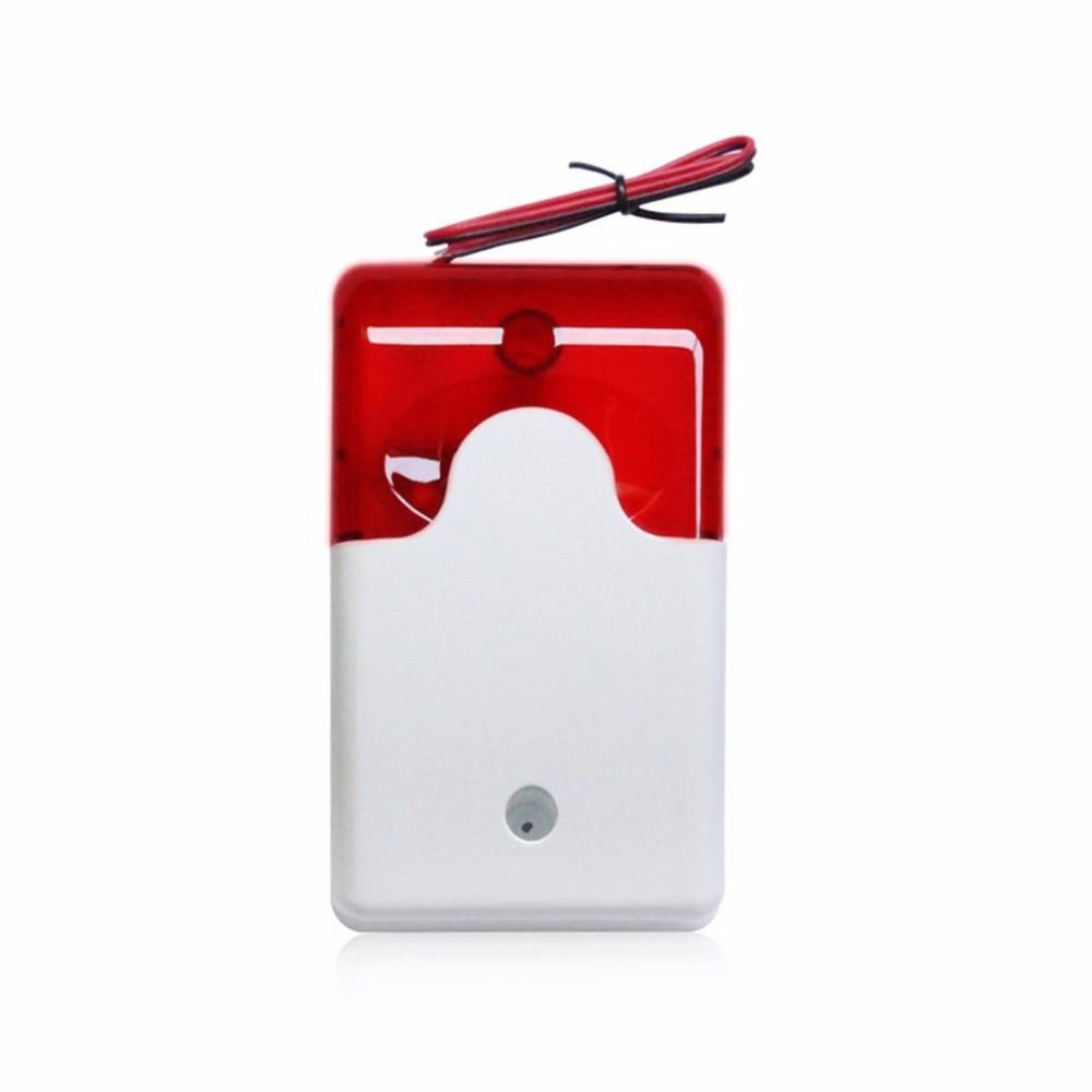 Wired Strobe Siren Practical Alarm Strobe 12V Flashing Red Light Sound Siren Home Office Security Alarm System 110dB клаксон kwok 110db ahh 12v