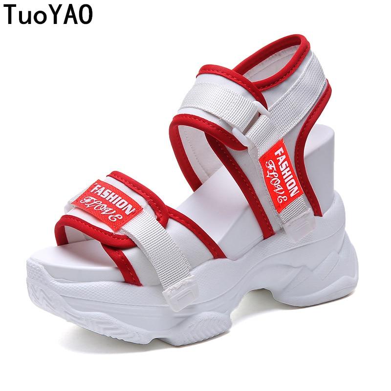 2019 Sommer Frauen Sandalen High Heels Sandalen Für Frauen Air Mesh Sandale 11 Cm Heels Keil Plattform Schuhe Sommer Casual Turnschuhe Den Speichel Auffrischen Und Bereichern
