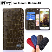 For Xiaomi Redmi 4X Case Sencond Layer Genuine Leather With Soft TPU Wallet Flip Cover For