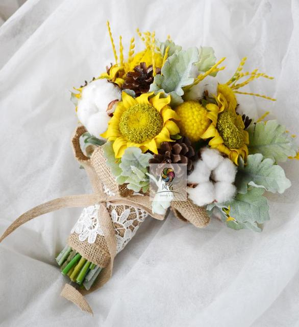 New Handmade sunflower immortal flower cotton ears yellow white ...