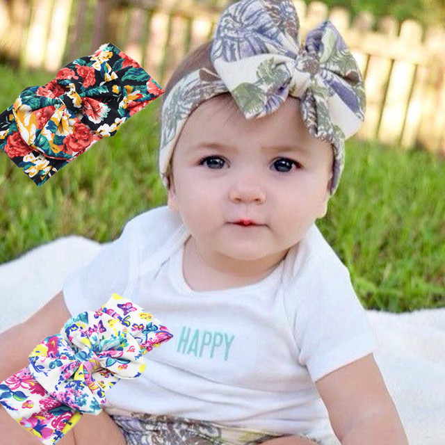 b1c2fead2a02 Baby Girl Tie Knot Bow Bandana Headband Elastic Printing Knitted Cotton  Children Newborn Infant Hair Band Summer Turban Bebe