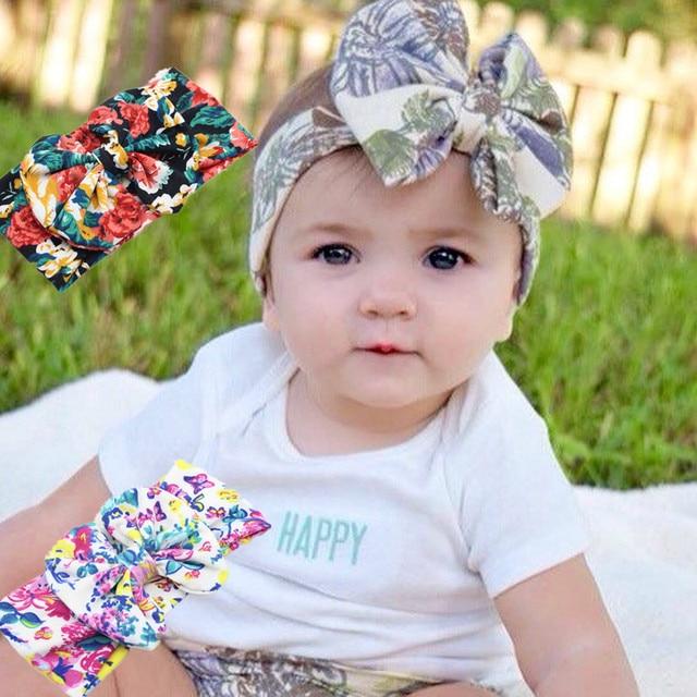 Baby Girl Tie Knot Bow Bandana Headband Elastic Printing Knitted Cotton  Children Newborn Infant Hair Band Summer Turban Bebe 5e49365e1e6