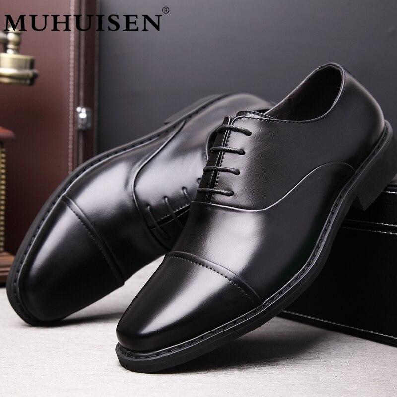 Muhuisen Boda Punta Cuero Formales Zapatos De Vestido Lujo 26003 brown Para Marca Clásico Hombre Moda Negro Black qXvTqrz