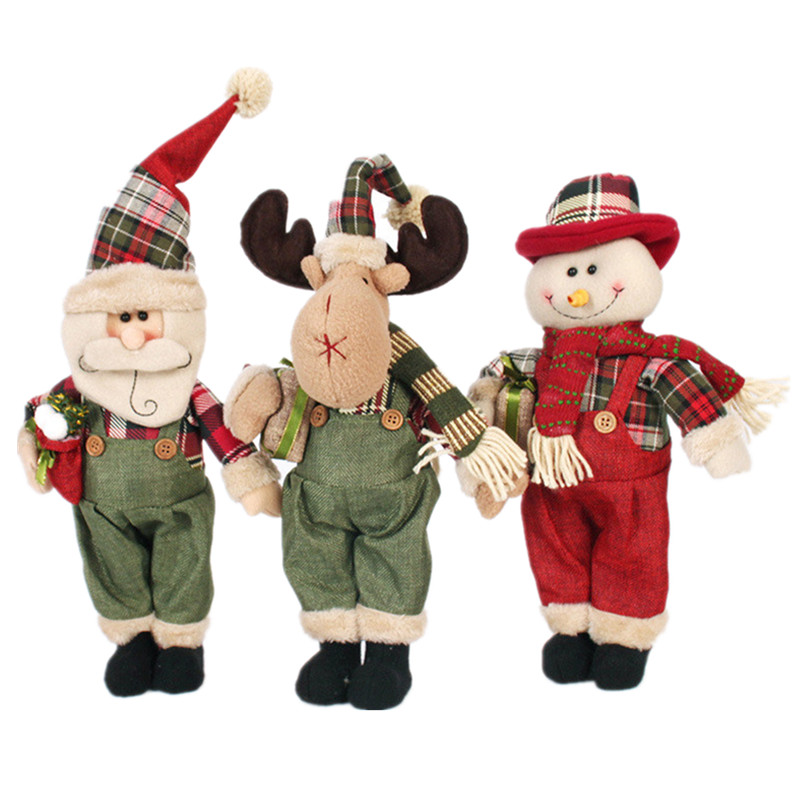 38cm New Year Christmas Ornaments Snowman Santa Claus Elk Standing Dolls Plush Toys Gifts For Kids Child Home Decorations Crafts